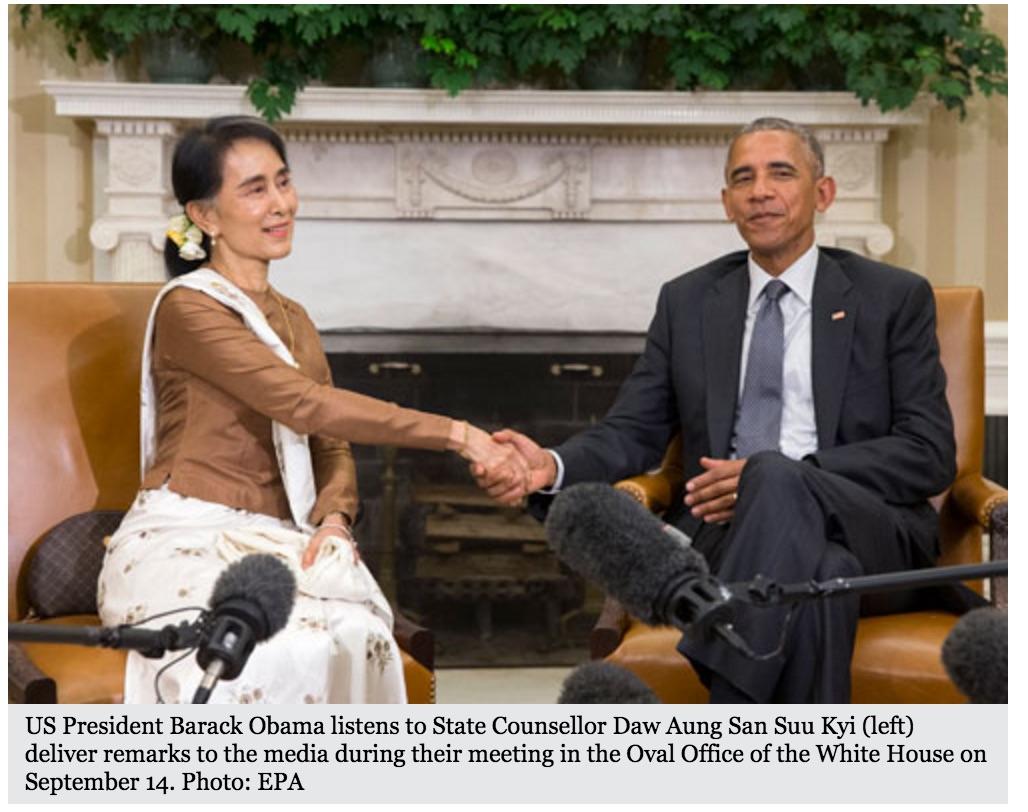 Félicitant la Birmanie pour sa marche vers la démocratie, Barack Obama a accepté la levée des sanctions économiques qui pèsent sur le pays. Une décision critiquée par les associations de défense des droits de l'Homme. Copie d'écran du Myanmar Times, le 15 septembre 2016.