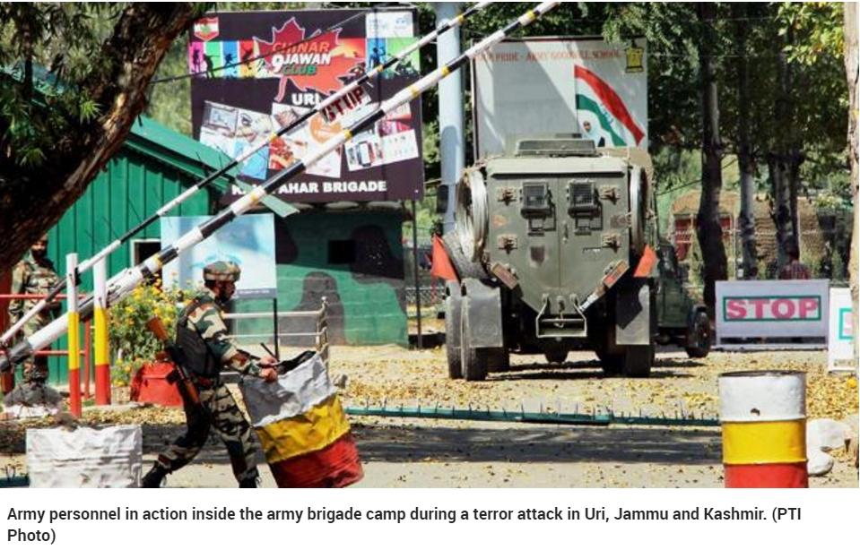 Le Cachemire indien est de nouveau déstabilisé par un violent attentat à l'encontre d'une base militaire, à Uri. Copie d'écran du Hindustan Times, le 19 septembre 2016.
