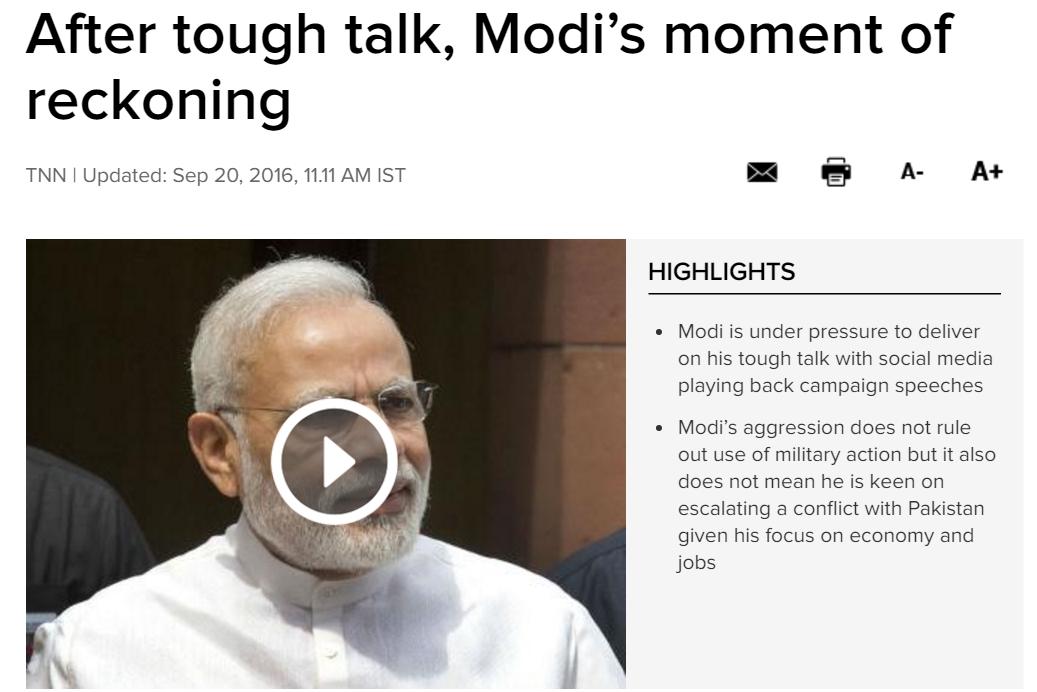 En matière de politique pakistanaise, Narendra Modi se trouve à la croisée des chemins. Copie d'écran du Times of India, le 20 septembre 2016.