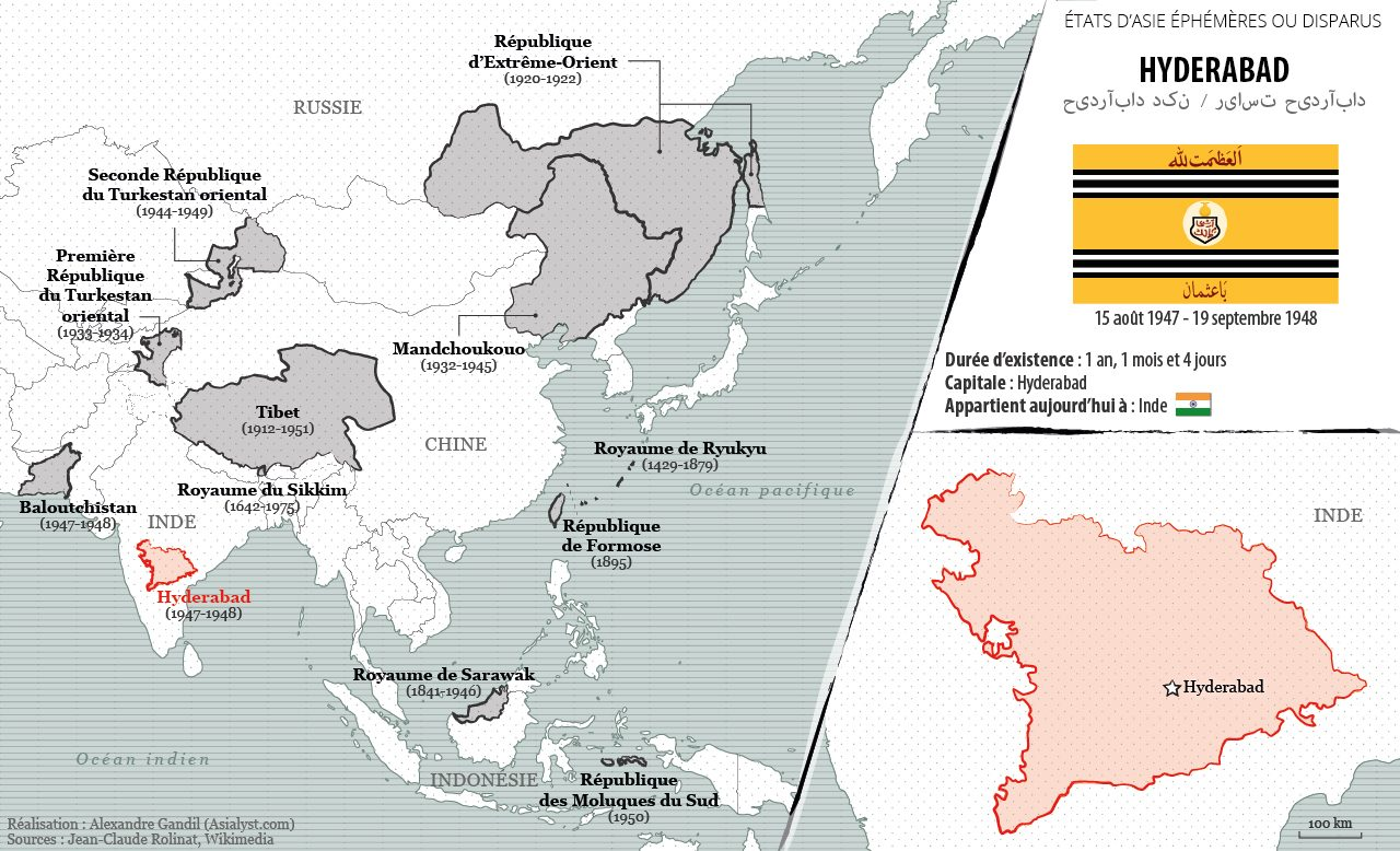 Panorama des États éphémères ou disparus d'Asie retenus par Asialyst et carte de l'Etat indépendant d'Hyderabad (1947-48).