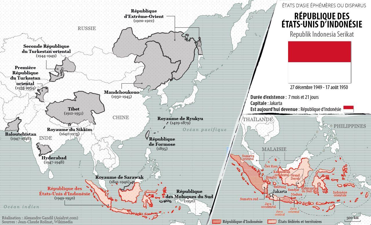 Panorama des États éphémères ou disparus d'Asie retenus par Asialyst et carte de la République des États-Unis d'Indonésie (1949-1950).