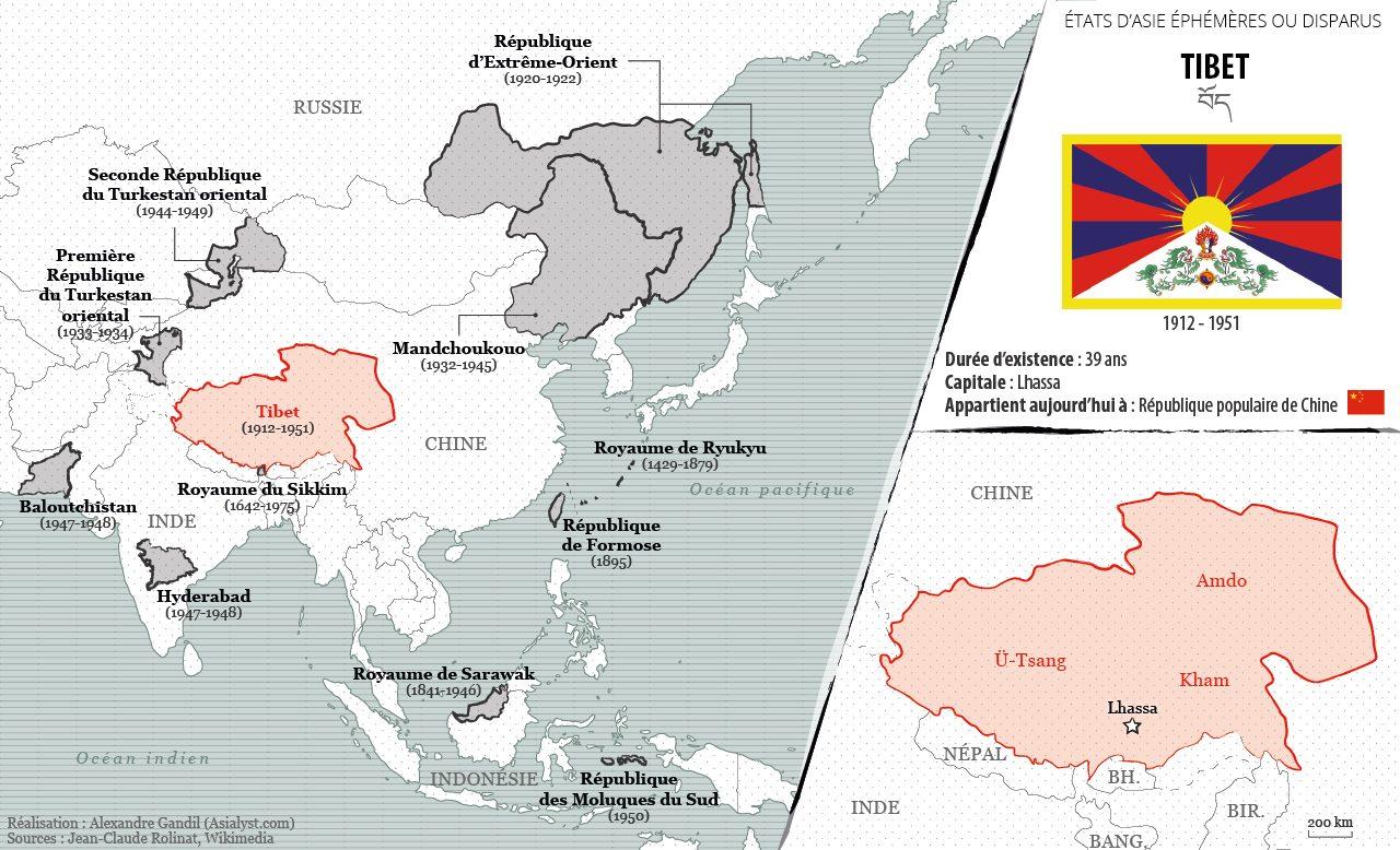 Panorama des États éphémères ou disparus d'Asie retenus par Asialyst et carte du Tibet autonome (1912-1951).