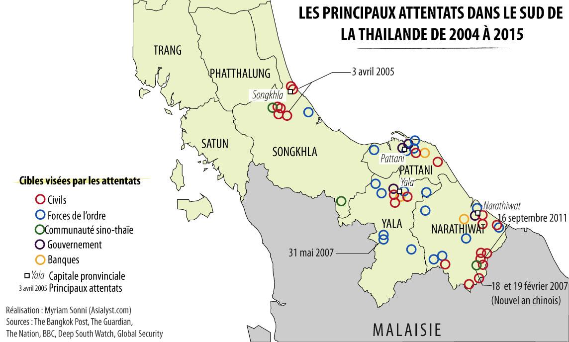 Carte des attentats dans le sud de la Thailande