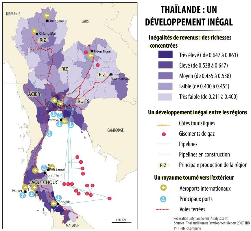 Carte de l'économie de la Thailande