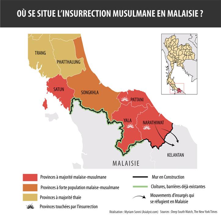 Carte insurrection Sud Thaïlande