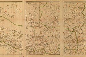 Carte chinoise du Tibet en 1904 distinguant les trois régions principales de l'Ü-Tsang (à l'Ouest), de l'Amdo (au Nord) et du Kham (à l'Est)