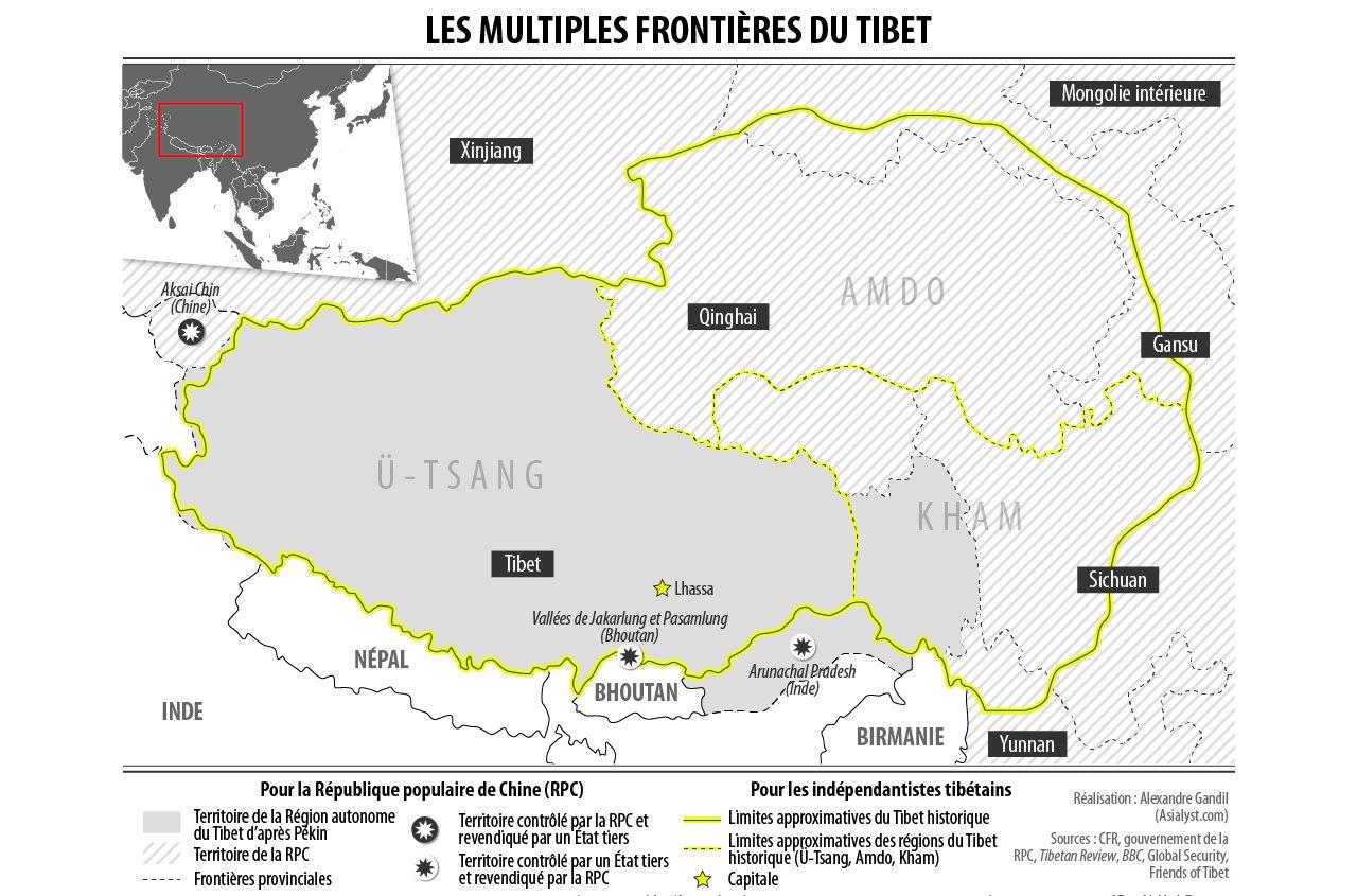 Selon le sens auquel on l'entend, le Tibet ne recouvre pas le même territoire.