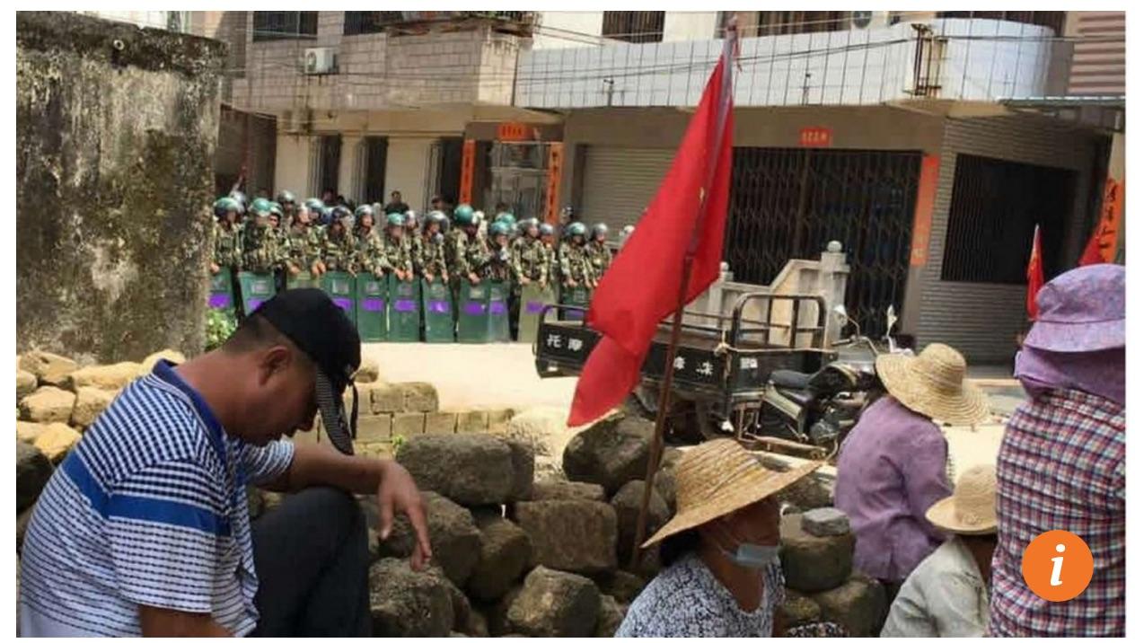 """Les autorités chinoises offrent 2700 euros à quiconque pourrait offrir des indices permettant de découvrir des """"forces étrangères"""" cachées dans le village. Copie d'écran du South China Morning Post, le 15 septembre 2016."""