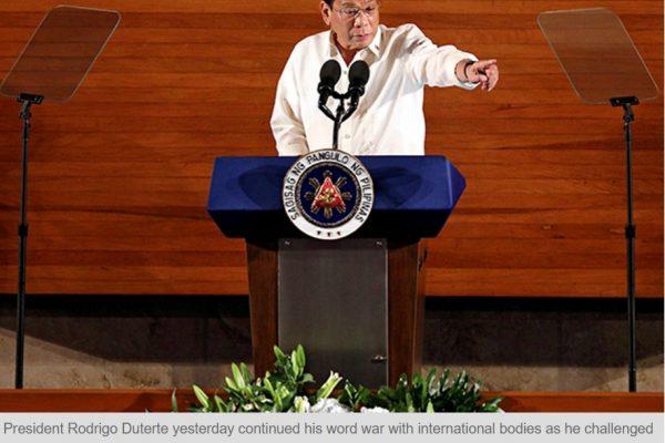 Fidèle à sa réputation de provocateur, le président philippin Rodrigo Duterte a incité l'UE et l'ONU à enquêter sur sa politique anti-drogue. Copie d'écran du Philippine Star, le 23 septembre 2016.