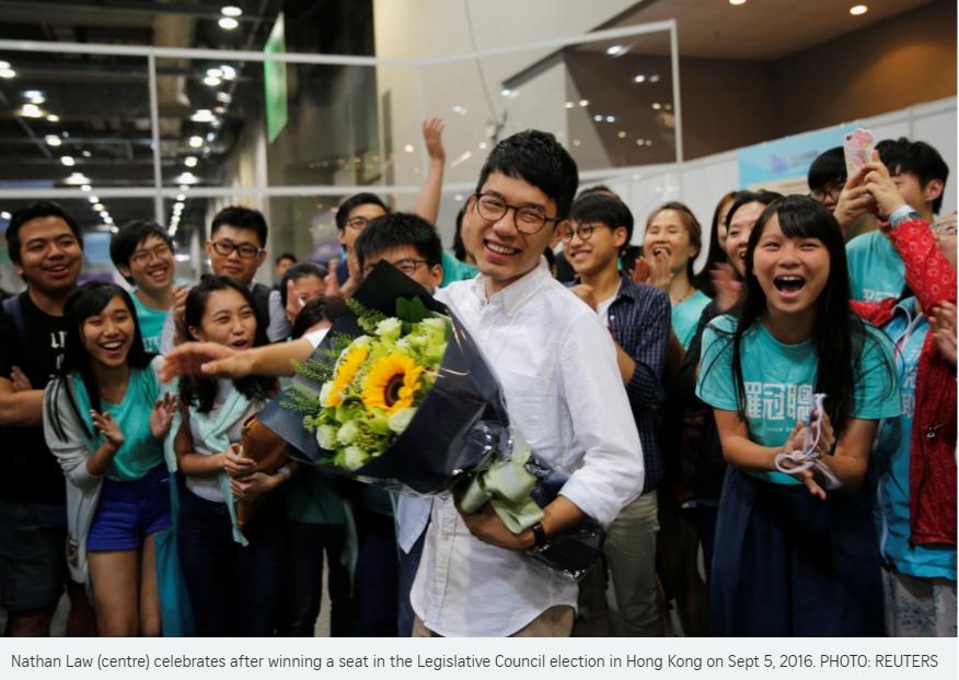 Les démocrates hongkongais devraient garder leur droit de veto au Conseil législatif hongkongais mais se retrouvent divisés avec la percée des indépendantistes. Copie d'écran du Straits Times, le 5 septembre 2016.