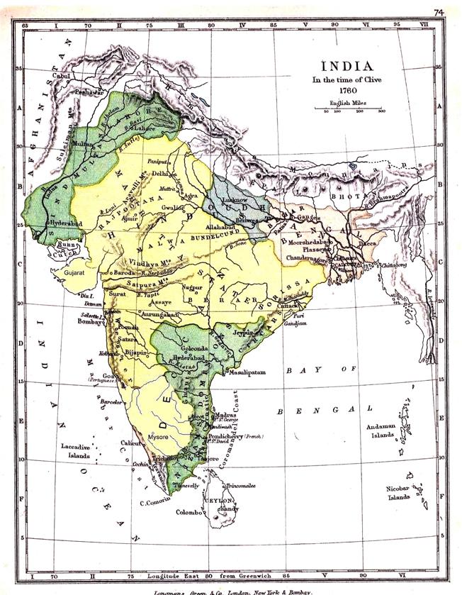 Carte des dominions du Nizam (en vert, au Sud-Est) en 1760.