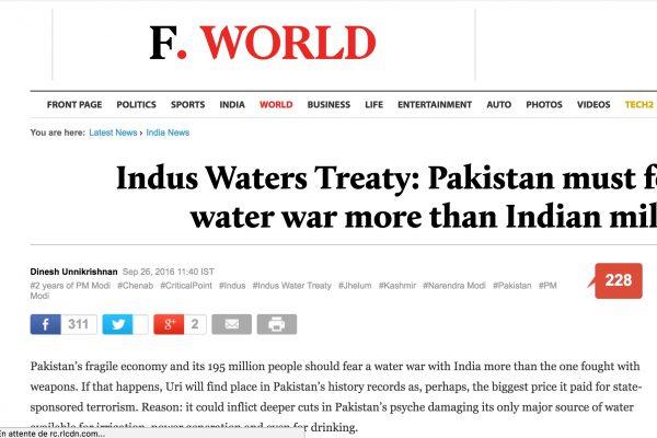 Couper l'eau de l'Indus au Pakistan entraînerait une crise majeure au Pakistan, totalement dépendant de cette ressource. Copie d'écran du Firstpost, le 27 septembre 2016.