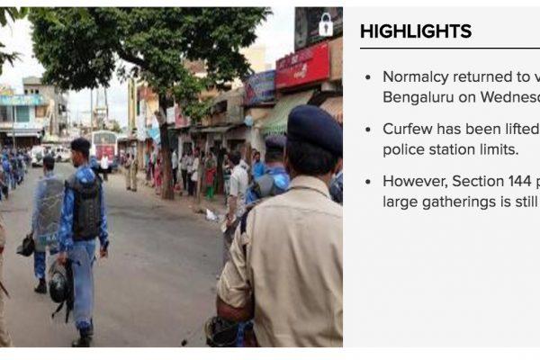 À Bangalore, le couvre feu a été levé dans le périmètre de 16 commissariat de police. Copie d'écran du Times of India, le 14 septembre 2016.