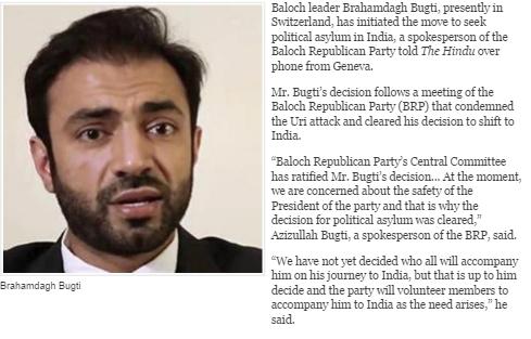 Brahumdagh Bugti est exilé en Suisse depuis 2006. Copie d'écran de The Hindu, le 20 septembre 2016.