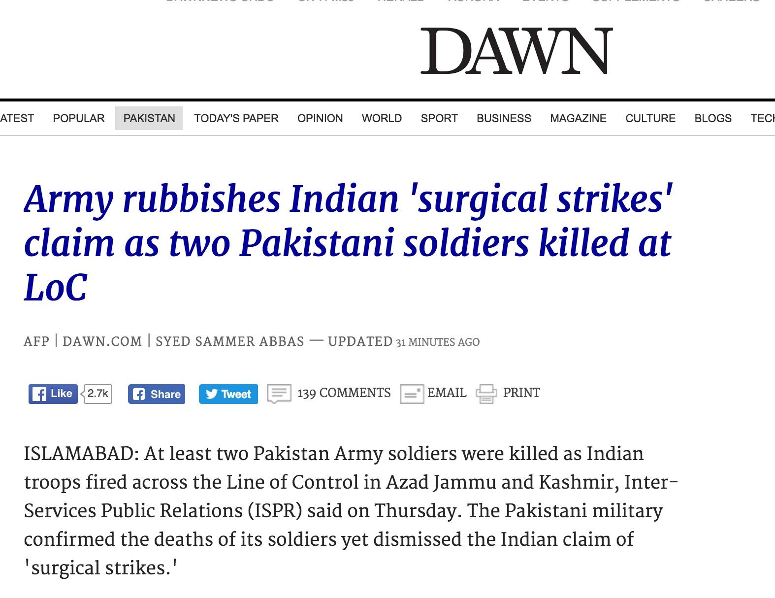 Qui du Pakistan ou de l'Inde a initié la fusillade au Cachemire indien provoquant la mort de deux soldats pakistanais. Copie d'écran de Dawn, le 29 septembre 2016.
