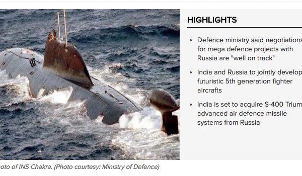L'Inde joue à l'équilibriste multipliant les négociations militaires avec la Russie et les États-Unis. Copie d'écran du Times of India, le 7 septembre 2016
