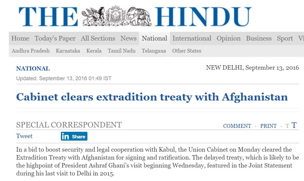 La coopération indo-afghane avançe à petits pas. Copie d'écran de The Hindu, le 13 septembre 2016.