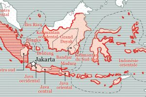 Carte de l'éphémère République des Etats-Unis d'Indonésie (1949-1950).