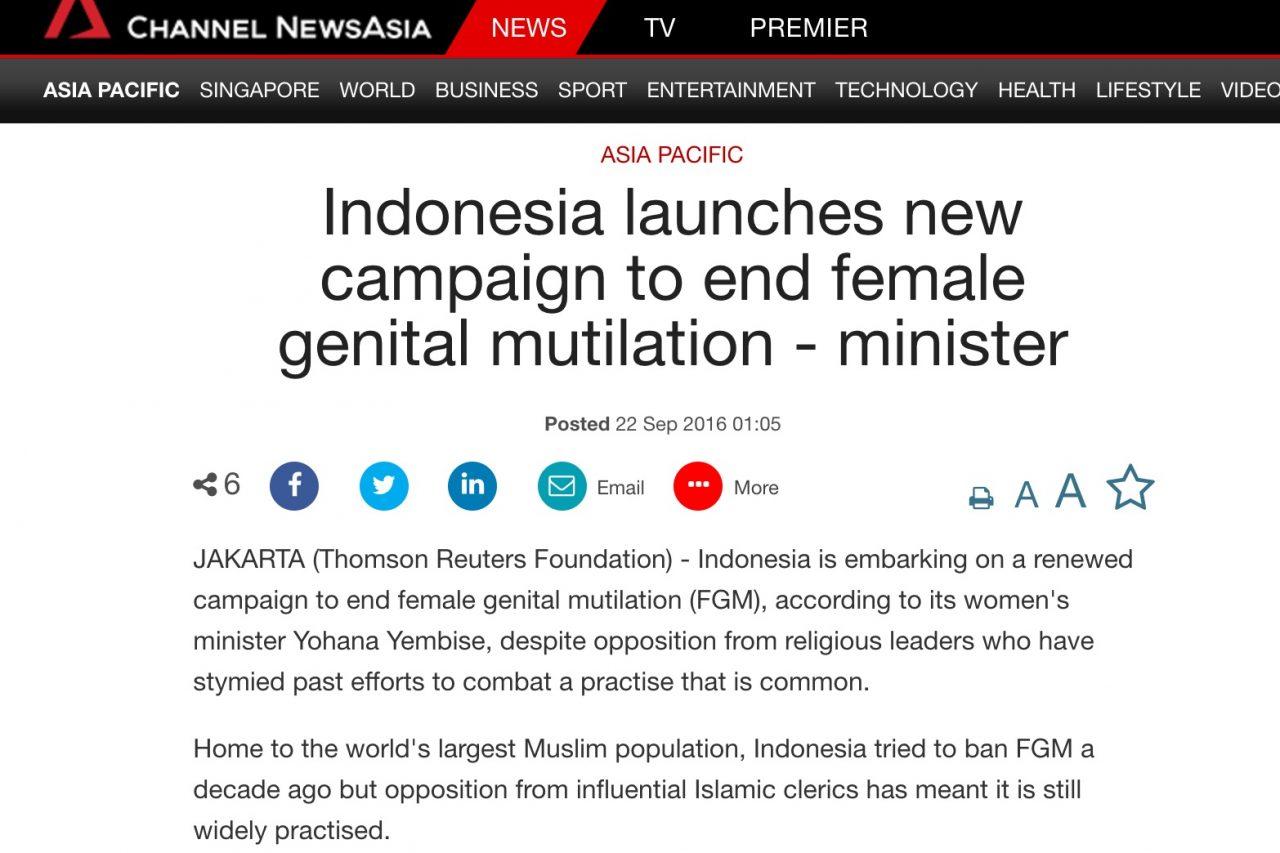 Après un premier échec en 2006, l'Indonésie lance une campagne contre les mutilations génitales qui touchent près de la moitié des fillettes de onze ans. Copie d'écran de Channel News Asia, le 22 septembre 2016.