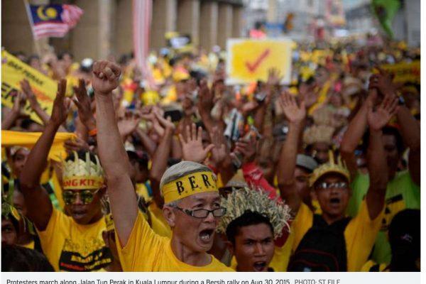 Le groupe Bersih organise des rassemblements dans 246 villes de Malaisie en octobre et appelle à la démission de Najib Razak. Copie d'écran du Straits Times, le 14 septembre 2016.