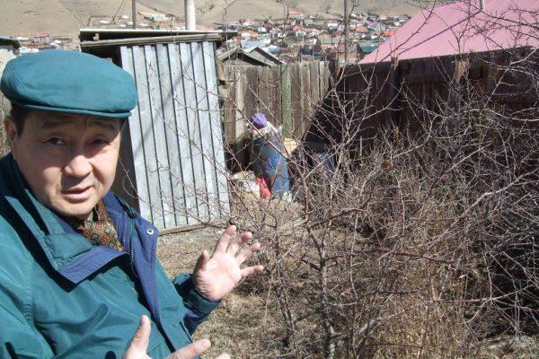 Erdenchuluun dans son jardin dans le quartiers des yourtes d'Oulan-Bator en Mongolie.