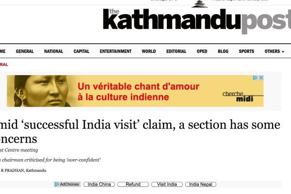 La rencontre entre Pushpa Kamal Dahal et son homologue indien Narendra Modi, a été vivement critiquée par les maoïstes qui dénoncent un affaiblissement de l'indépendance du pays dans le domaine des Affaires étrangères. Copie d'écran du Kathmandu Post, le 21 septembre 2016.