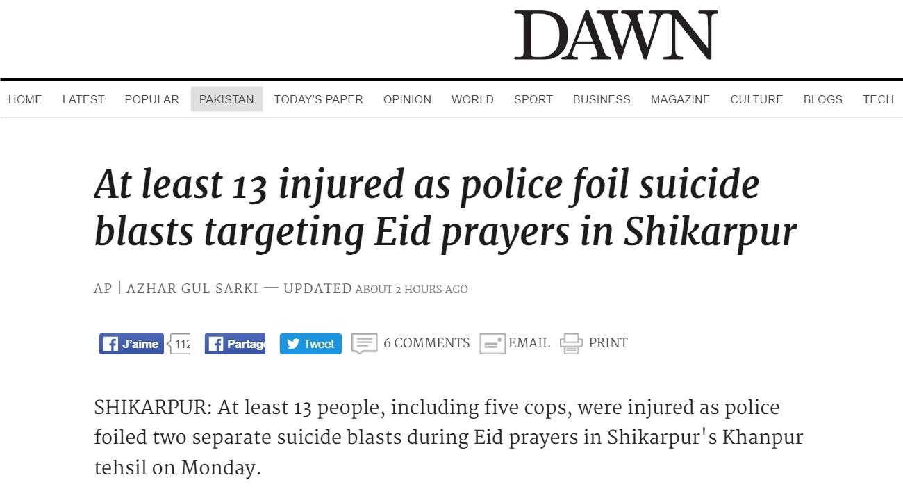 13 personnes ont été blessées lundi 12 septembre lors d'attentats suicides simultanés. Copie d'écran de Dawn, le 13 septembre 2016.