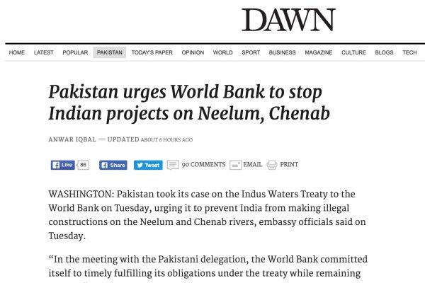 C'est la deuxième fois depuis la signature du traité de l'Indus en 1960 que la Banque mondiale doit trancher dans un litige entre les deux pays. Copie d'écran de Dawn, le 28 septembre 2016.