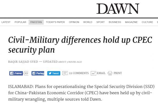 Les tensions entre civils et militaires pakistanais pourraient remettre en cause le développement du Corridor économique Chine-Pakistan. Copie d'écran de Dawn, le 19 septembre 2016.