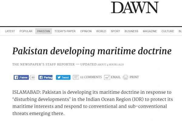 La nouvelle doctrine doit notamment permettre la protection des navires commerciaux, et s'atteler au problème du changement climatique. Copie d'écran de Dawn, le 6 septembre 2016.