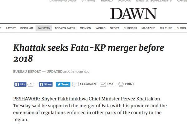 La fusion entre la région du Khyper-Pakhtunkhva et des zones tribales a été acceptée et avec elle, un lot de réformes. Copie d'écran de Dawn, le 7 septembre 2016