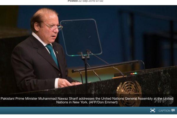 L'Inde et le Pakistan se sont violemment opposés dans des diatribes verbales lors du sommet de l'ONU. Copie d'écran de Channel News Asia, le 22 septembre 2016.