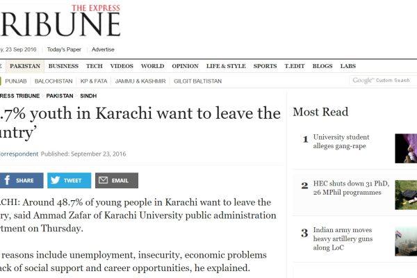 La jeunesse de Karachi est fondamentalement pessimiste sur ses opportunités dans la ville pakistanaise. Copie d'écran de The Express Tribune, le 23 septembre 2016.