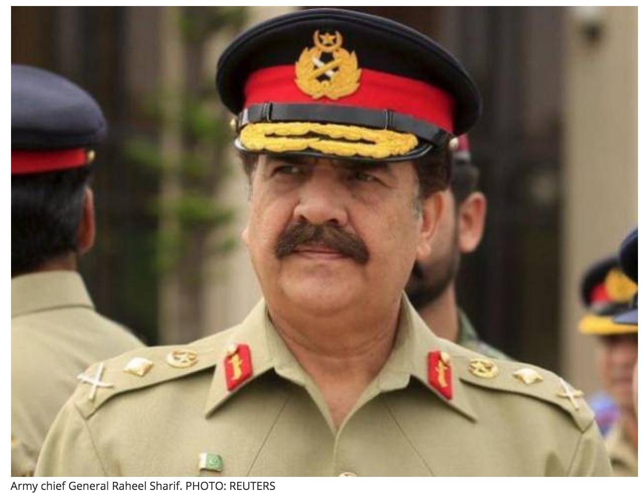 Raheel Sharif, chef des armées, avait amplifié le pouvoir des militaires en l'étedant sur certains postes clés du gouvernement civil. Copie d'écran de Tribune, le 28 septembre 2016.