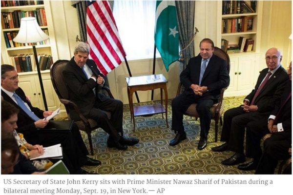 Lors d'une rencontre entre John Kerry et Nawaz Sharif, ce dernier a de nouveau fait appel à l'aide américaine dans la résolution du conflit au Cachemire. Copie d'écran de Dawn, le 20 septembre 2016.