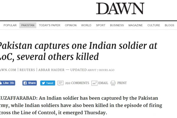 Le sort du soldat indien ayant franchi la Ligne de Contrôle est toujours incertain. Copie d'écran de Dawn, le 30 septembre 2016.