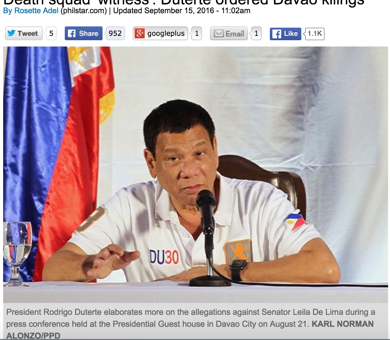 """Le président philippin tirerait les ficelles de la """"brigade de la mort de Davao"""", responsable entre autre de l'explosion d'une bombe dans une mosquée en 1993. Copie d'écran du Philstar, le 15 septembre 2016."""