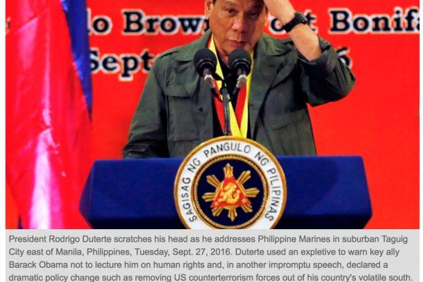 Le président philippin a déclaré qu'il n'hésiterait pas à tuer les trois millions de toxicomanes dans le pays. Copie d'écran du Philstar, le 30 septembre 2016.