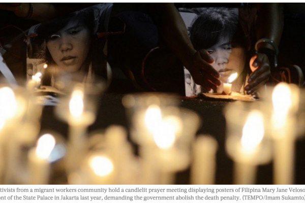 La philippine Mary Jane est dans le couloir de la mort depuis avril 2010 en Indonésie, où elle a été arrêtée pour trafic de drogues. Copie d'écran du Jakarta Post, le 12 septembre 2016.