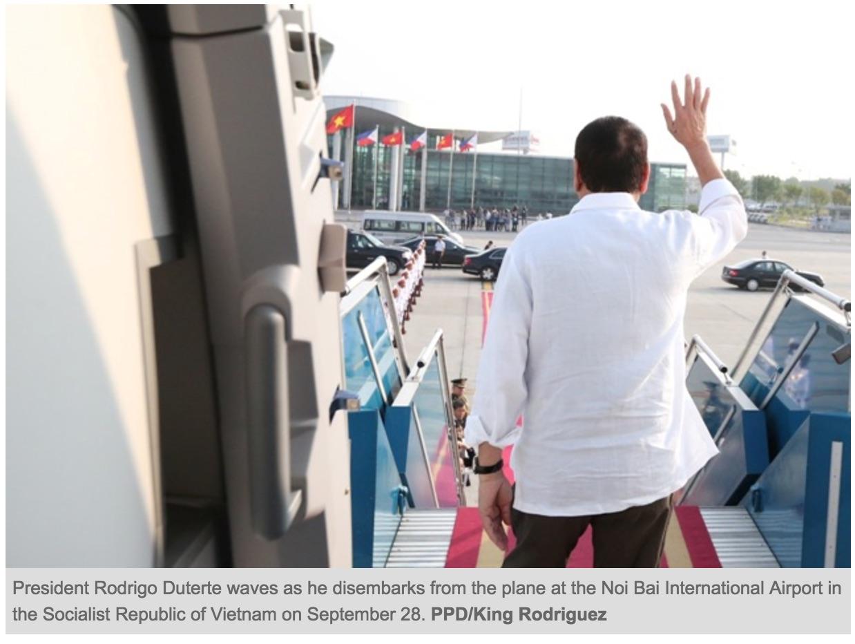 En supprimant ces exercices militaires conjoints avec les Etats-Unis, Duterte se tournent bel et bien vers la Chine. Copie d'écran du Philstar, le 29 septembre 2016.