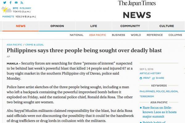 La traque est lancée pour retrouver les responsables de l'attentat de Davao qui a fait 14 morts vendredi 2 septembre. Copie d'écran de The Japan Times, le 5 septembre 2016.