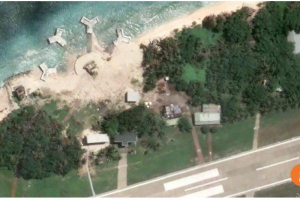 Le ministre de la Défense taïwanais n'a pas souhaité s'exprimer sur la nature des nouvelles constructions repérées par satellites sur l'île de Taiping, en mer de Chine du Sud. Copie d'écran du South China Morning Post, le 20 septembre 2016.