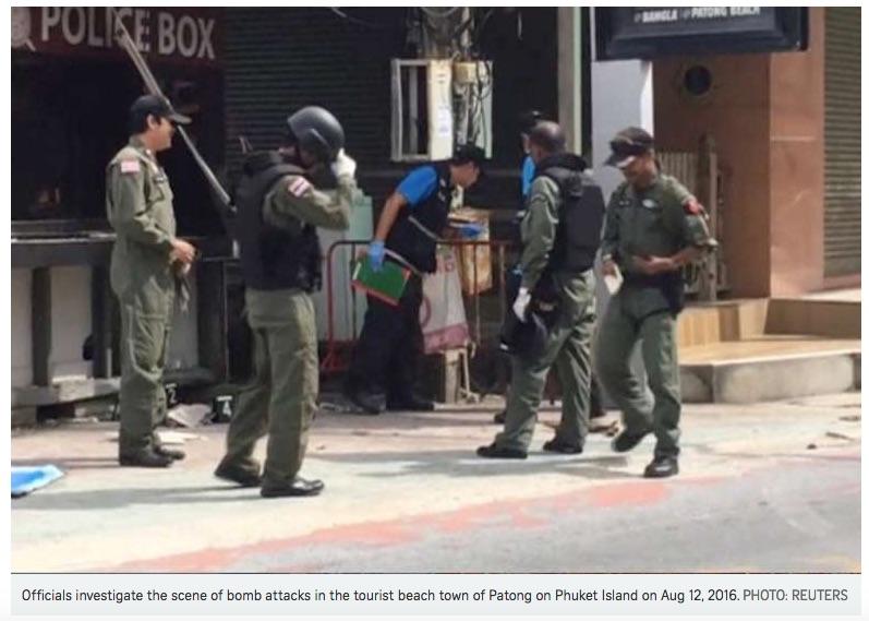 La police thaïlandaise a arrêté un premier suspect, lié à la rébellion musulmane du Sud, pour les attentats du 11 et 12 août. Copie d'écran du Straits Times, le 5 septembre 2016.