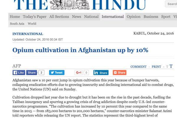 La production atteint ainsi son troisième plus haut niveau en 22 ans. Copie d'écran de The Hindu, le 24 octobre 2016