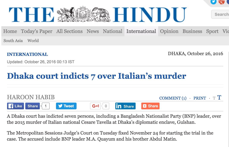 Le parti nationaliste du Bangladesh a dénoncé un jugement politique visant à discréditer le principal groupe d'opposition. Copie d'écran de The Hindu, le 26 octobre 2016.