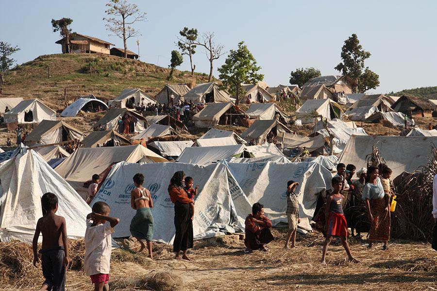 Camp de déplacés Taung Paw dans le nord du Rakhine en Birmanie.