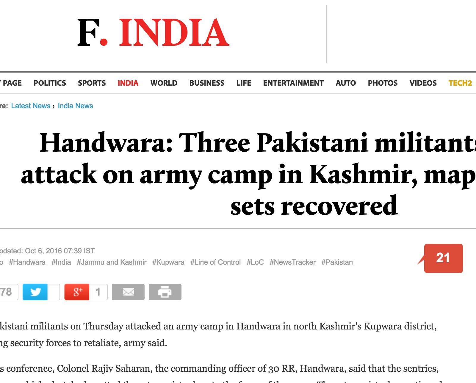Trois soldats sont morts alors qu'ils se trouvaient à proximité du camp. Copie d'écran du First Post, le 6 octobre 2016.