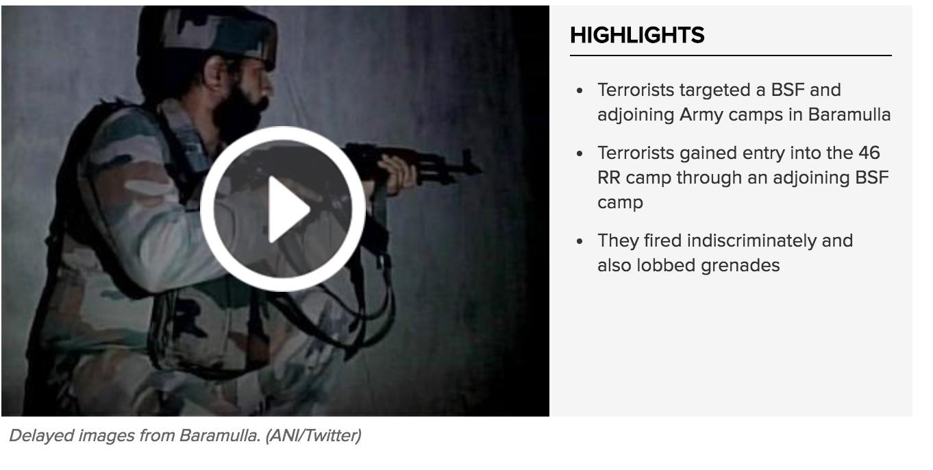 Quinze jours après l'attaque de la base militaire d'Uri, un nouvel attentat a eu lieu à Baramulla, dans le nord du Cachemire. Copie d'écran du Times of India, le lundi 3 octobre 2016.