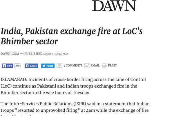 Des tirs ont été échangés en Azad et Cachemire, zone contrôlée par le Pakistan. Copie d'écran de Dawn, le 4 octobre 2016.