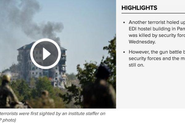 Les forces de l'ordre sont parvenues à pénétrer dans une partie de l'immeuble partiellement détruit. Copie d'écran du Times of India, le 12 octobre 2016.